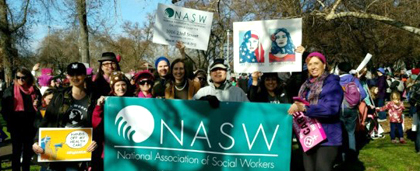 NASW Chapter Members At Outdoor Rally